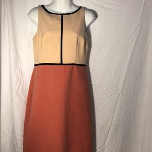 Contrast peach and black LOFT business dress